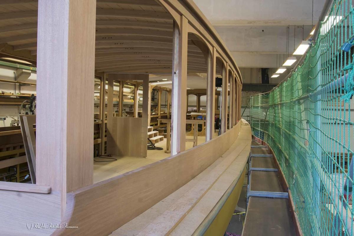 in der Werft der Königsseeschifffahrt im Berchtesgadener Land ein neues Schiff wird aufgebaut