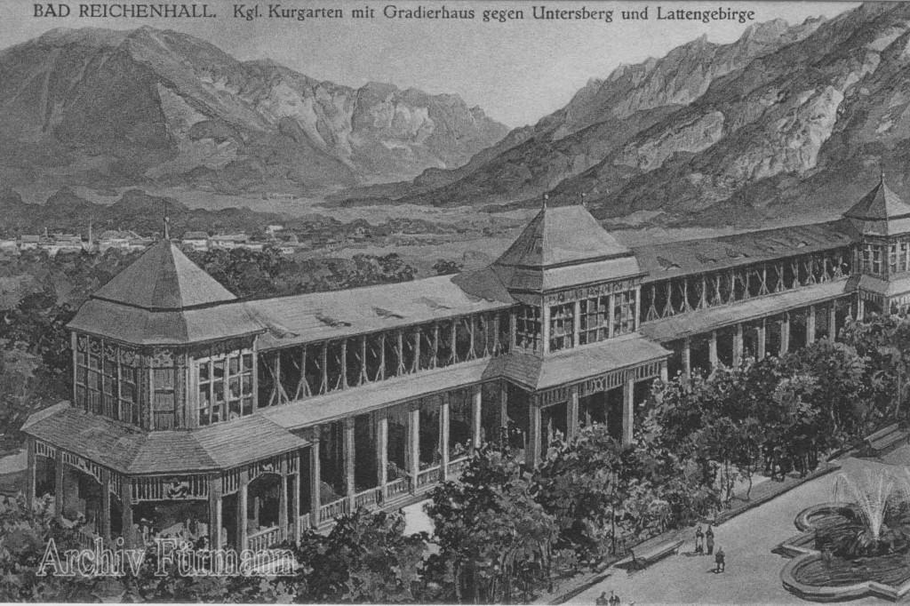 Gradierhaus mit Brunnen von Bad Reichenhall nach 1912 - da das Gradierhaus zu der Zeit neu erstellt war