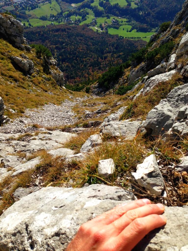 Blick zurück auf die steile Rinne