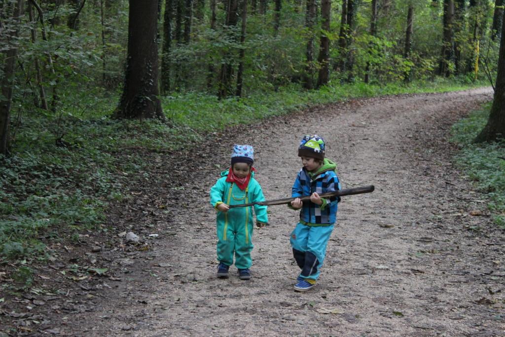 Teamwork beim Astlschleppen