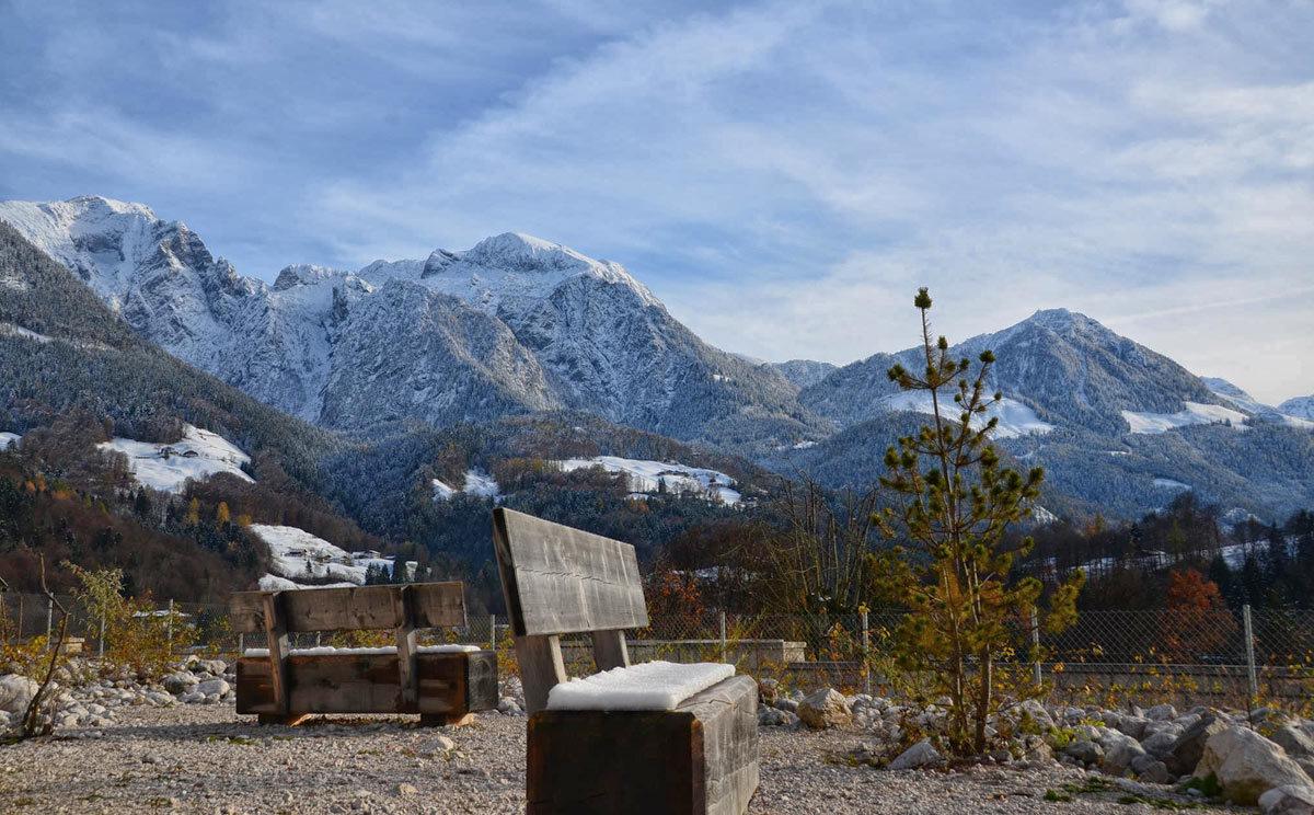 Schöne Aussichten vom Aussenbereich des Haus der Berge in Berchtesgaden