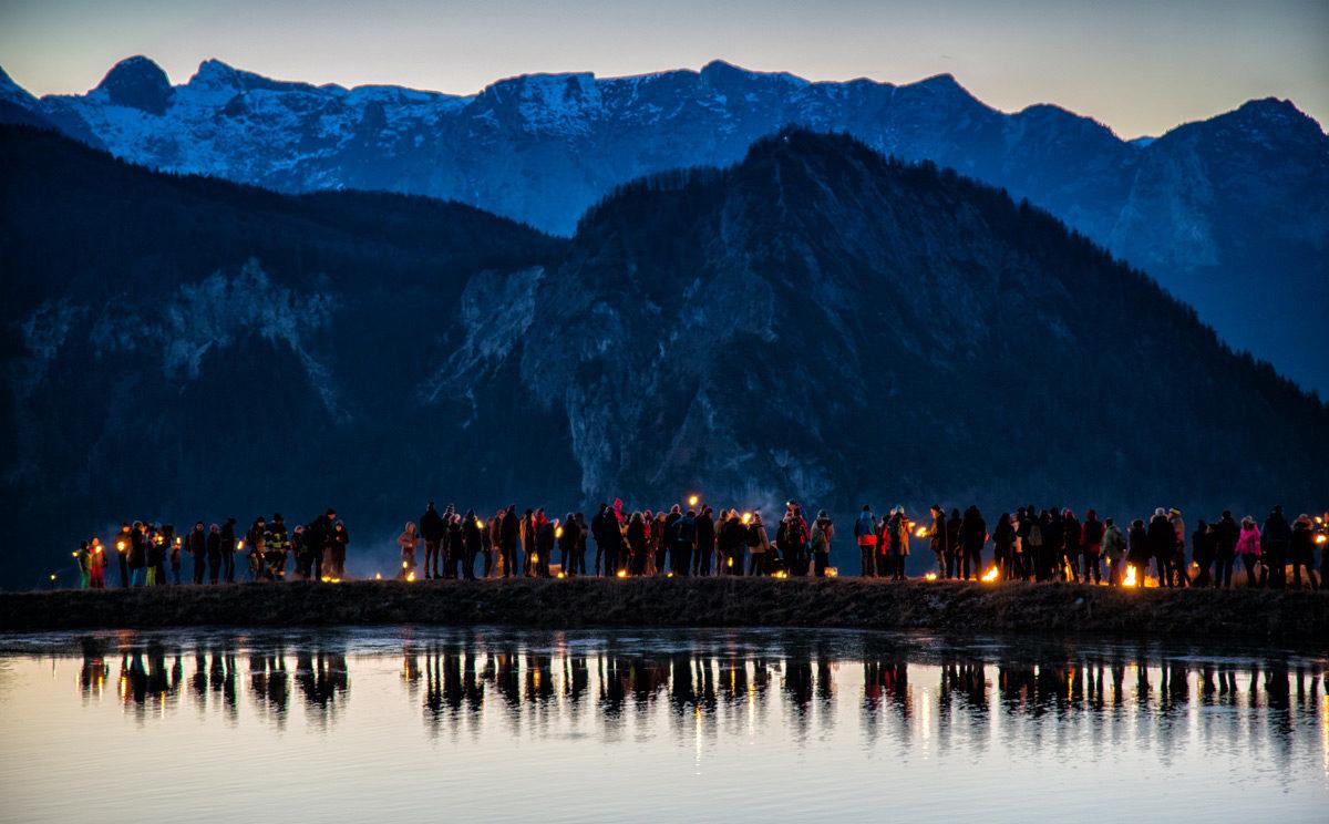 Alpine Fackelwanderung am Jenner Speicherteich