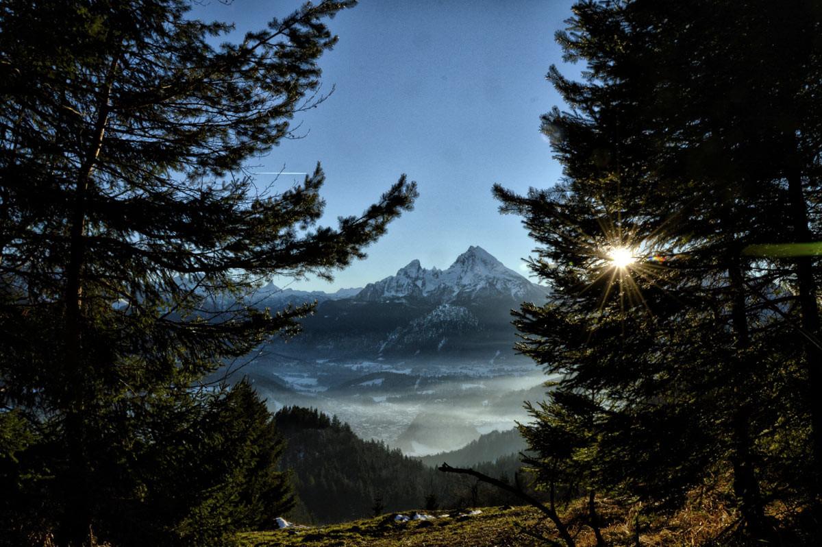 Blick zum Watzmann beim Abstieg