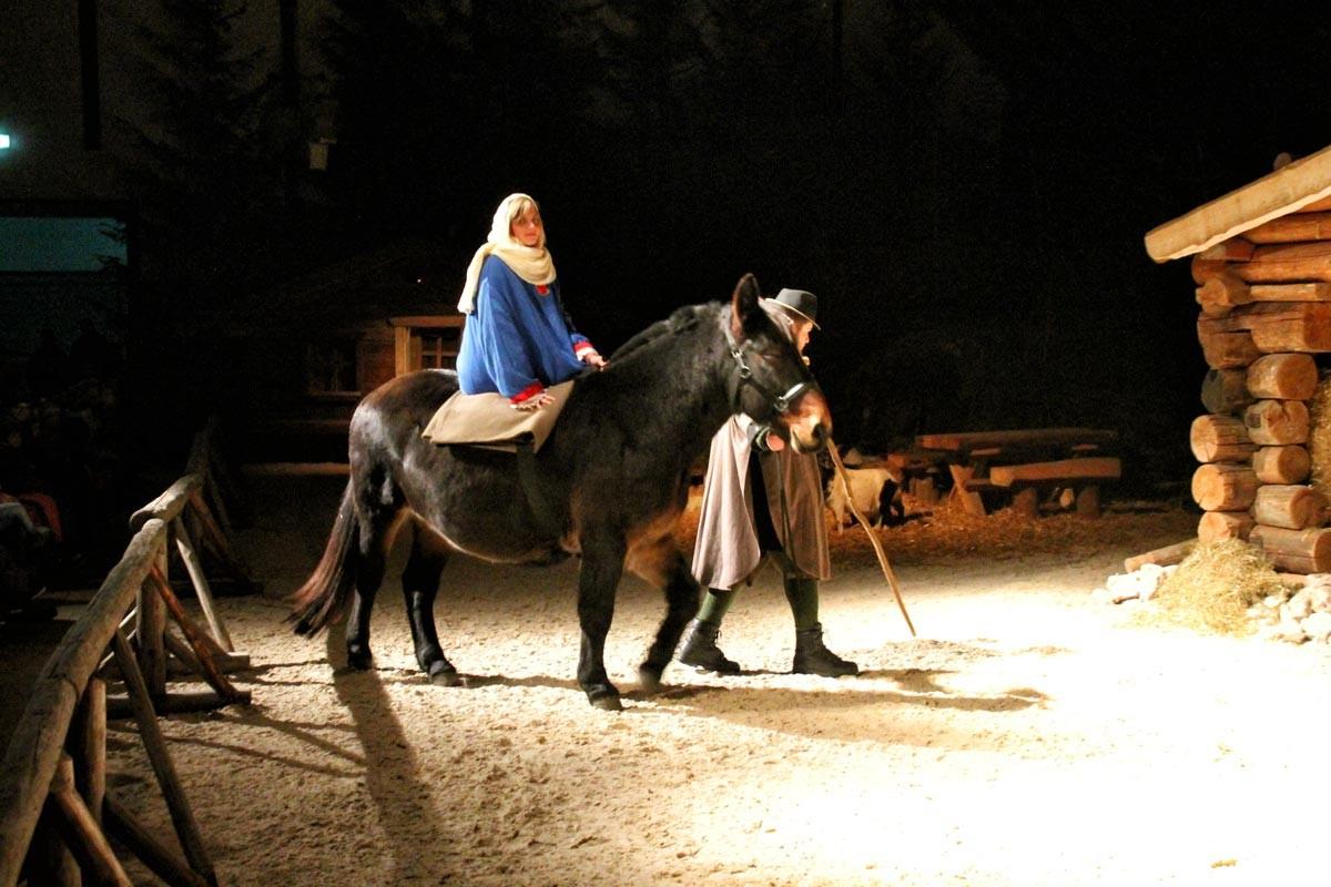 Josef führt die hochschwangere Maria auf Achilles zum Stall