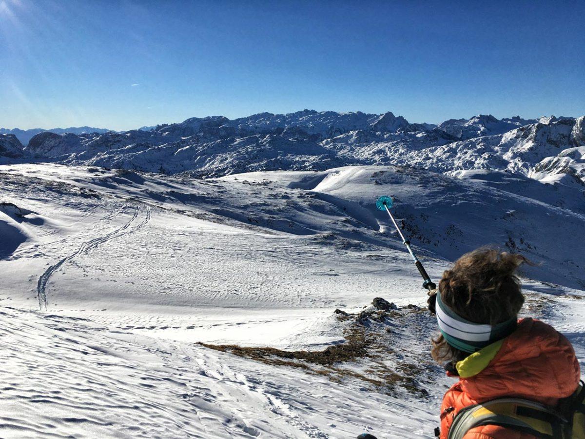 Bergführerin Nina Schlesener unterwegs auf der Skitour auf der Kleinen Reibn