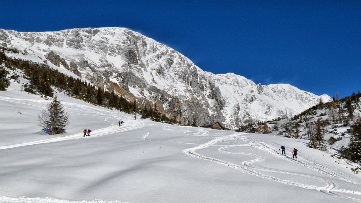Skitouren-Geher auf dem Weg zum Stahlhaus