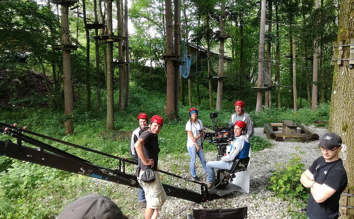Dreharbeiten für Lena Lorenz im Hochseilgarten von R-E-T Berchtesgaden