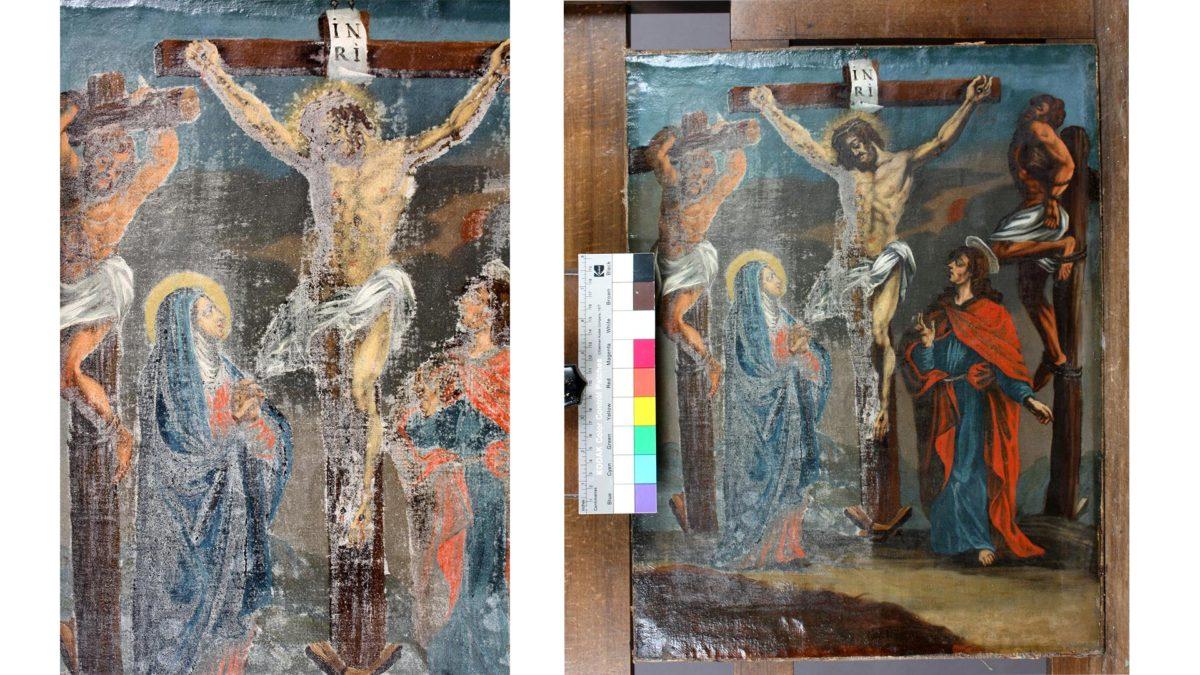 """Das Gemälde """"Die Kreuzigung"""" vor und während der Restaurierung © Bayerische Schlösserverwaltung"""