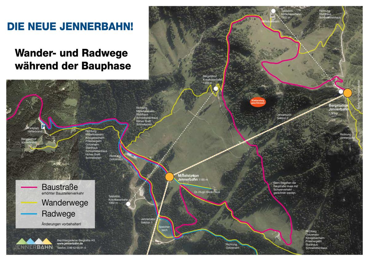 Wander- und Radwege während der Bauphase der Jennerbahn