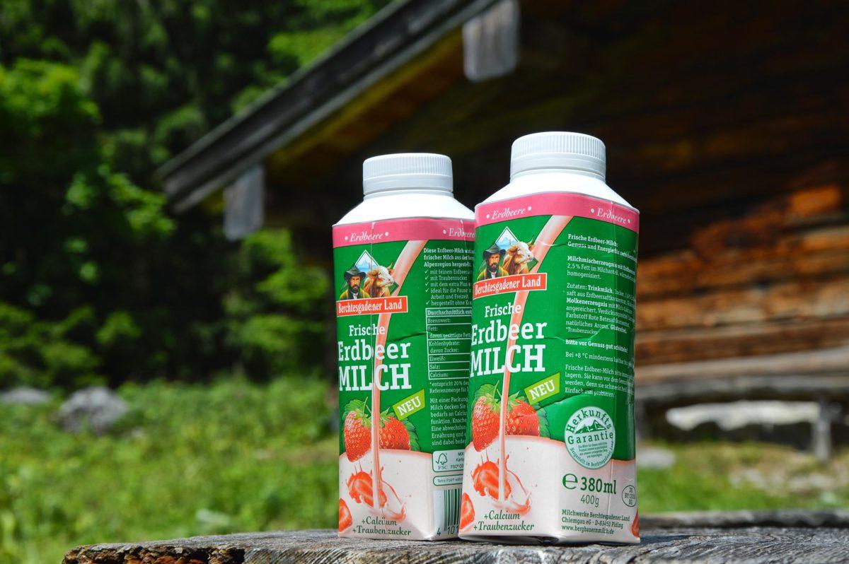 Die neue, frische Erdbeer-Milch von Berchtesgadener Land