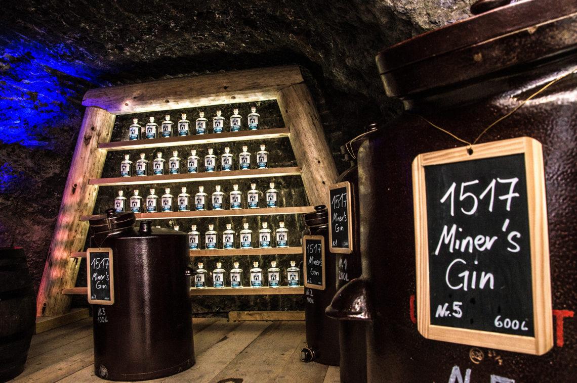 Gin in der alpinen Salzlagerstätte im Salzbergwerk Berchtesgaden