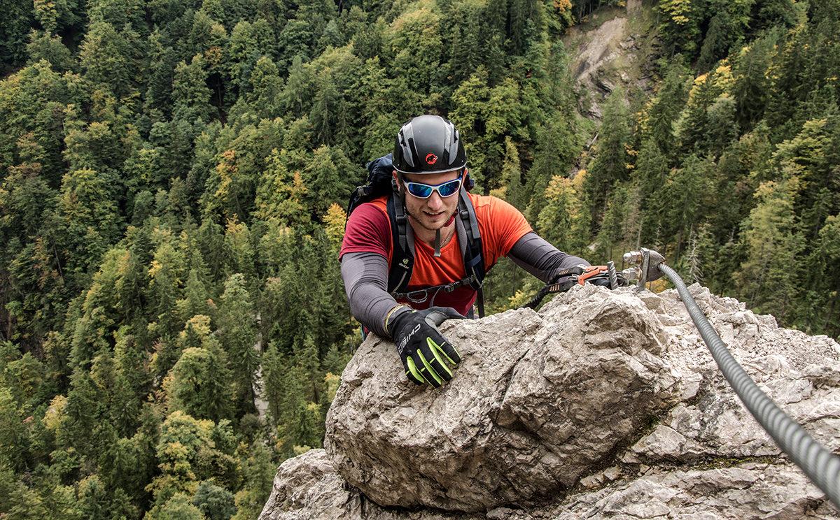 Der Beppo Pfeiler im Grünstein Klettersteig