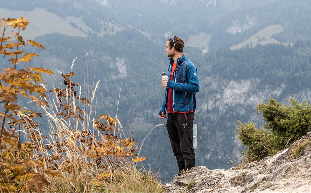 Blick zurück vom Grünstein Gipfel auf den Klettersteig