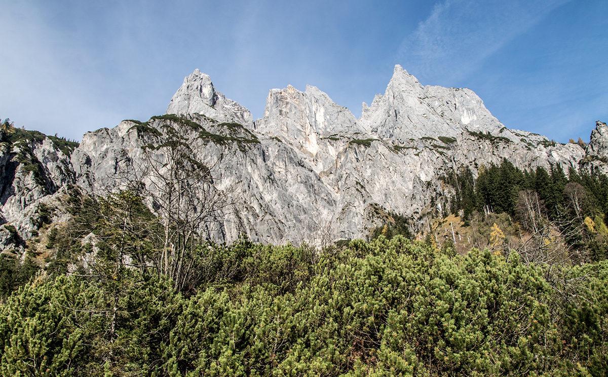 Die Mühlsturzhörner auf dem Weg durchs Klausbachtal