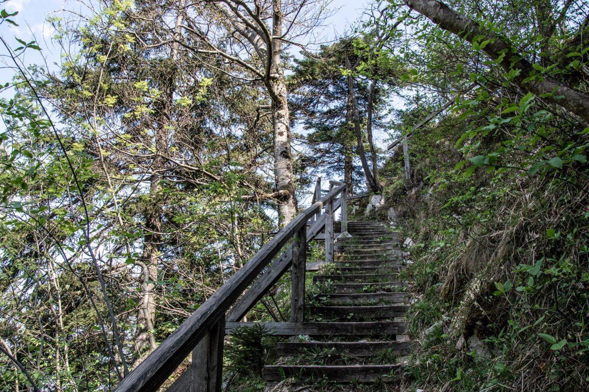 Stufen und Geländer erleichtern den Weg hinauf