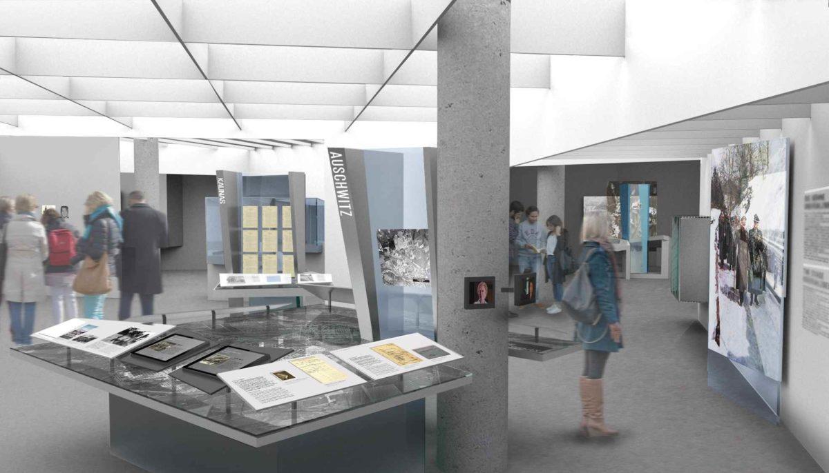"""Täterort und Tatorte"""" - Computersimulation vom zentralen Kapitel der neuen Daueraustellung © ramicsoenario Ausstellungsgestaltung"""