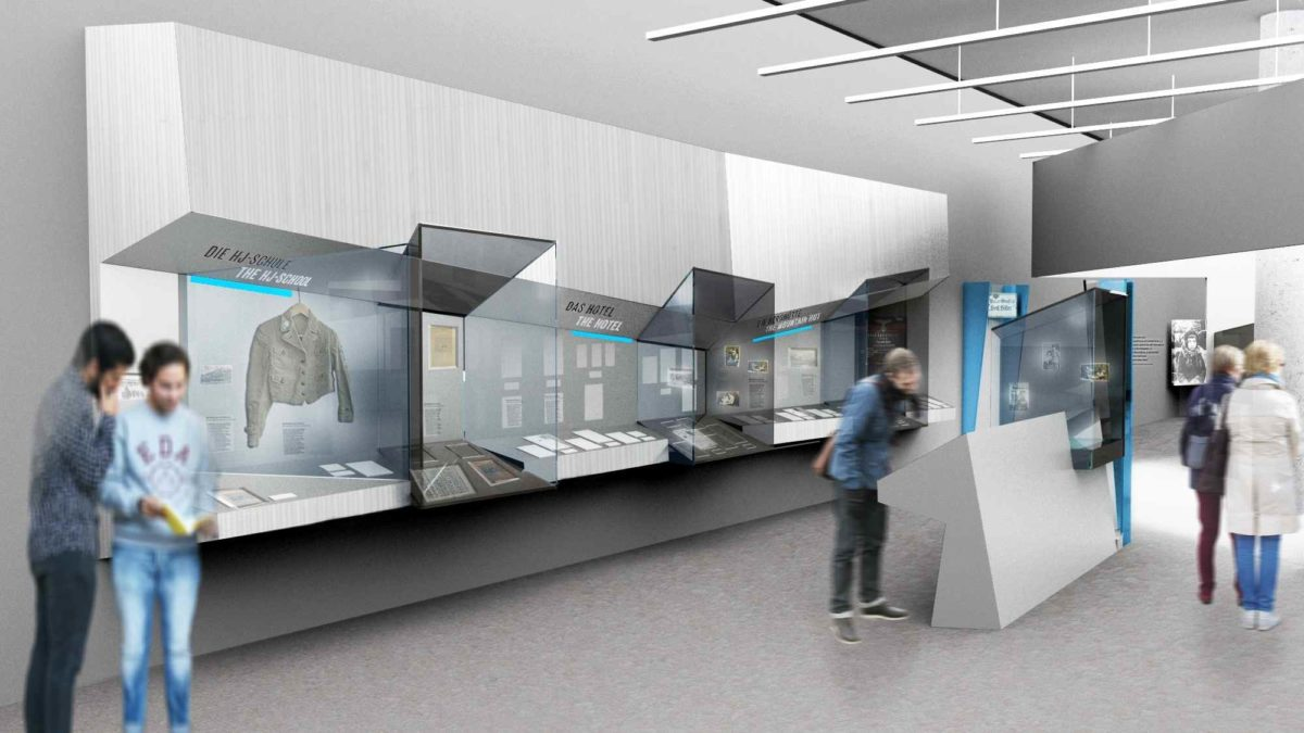 Verknüpfung von Ortsgeschichte und NS-Regime - Computersimulation der neuen Dauerausstellung © ramicsoenario Ausstellungsgestaltung