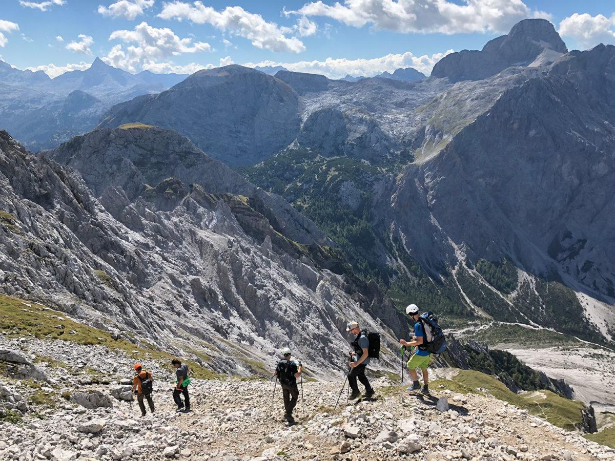 Abstieg von der Südspitze in das Wimbachgries