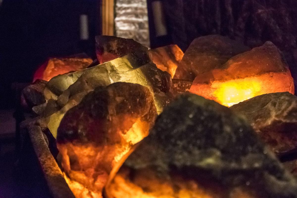 Beleuchtete Salzsteine