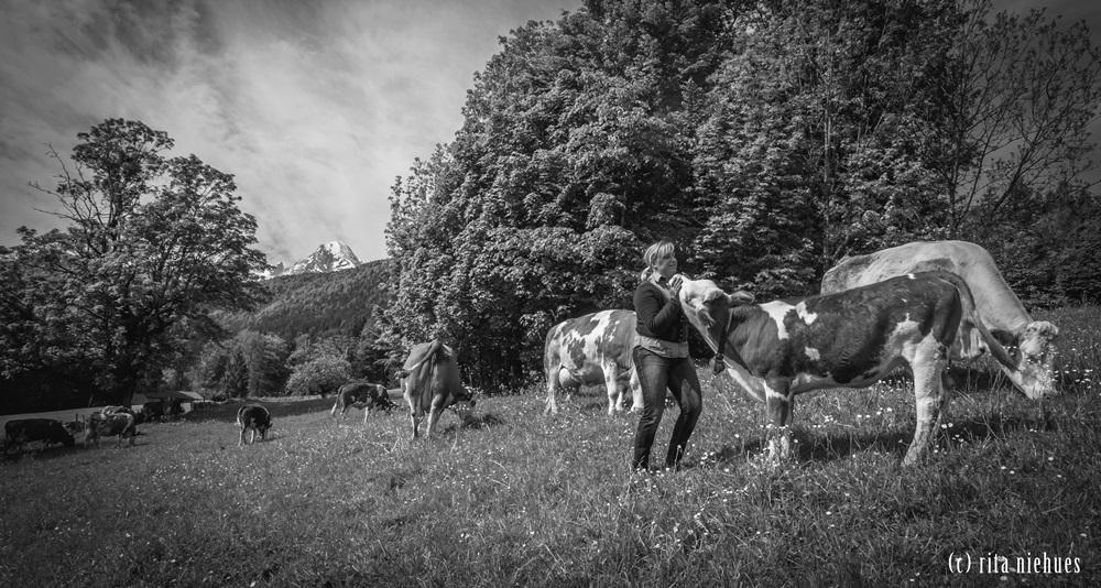 Bishcofswieserin Vroni Hallinger liebt ihre Kühe