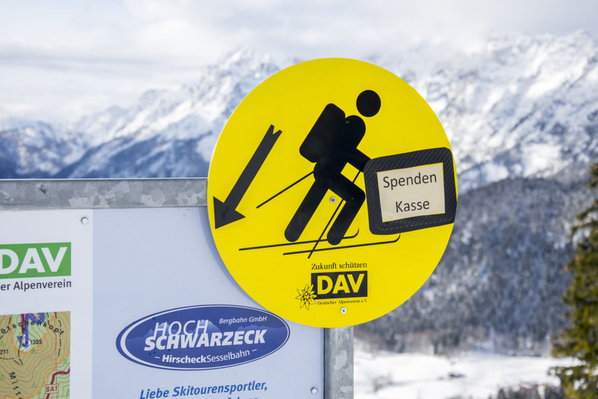 Spendenkasse für Skitourengeher