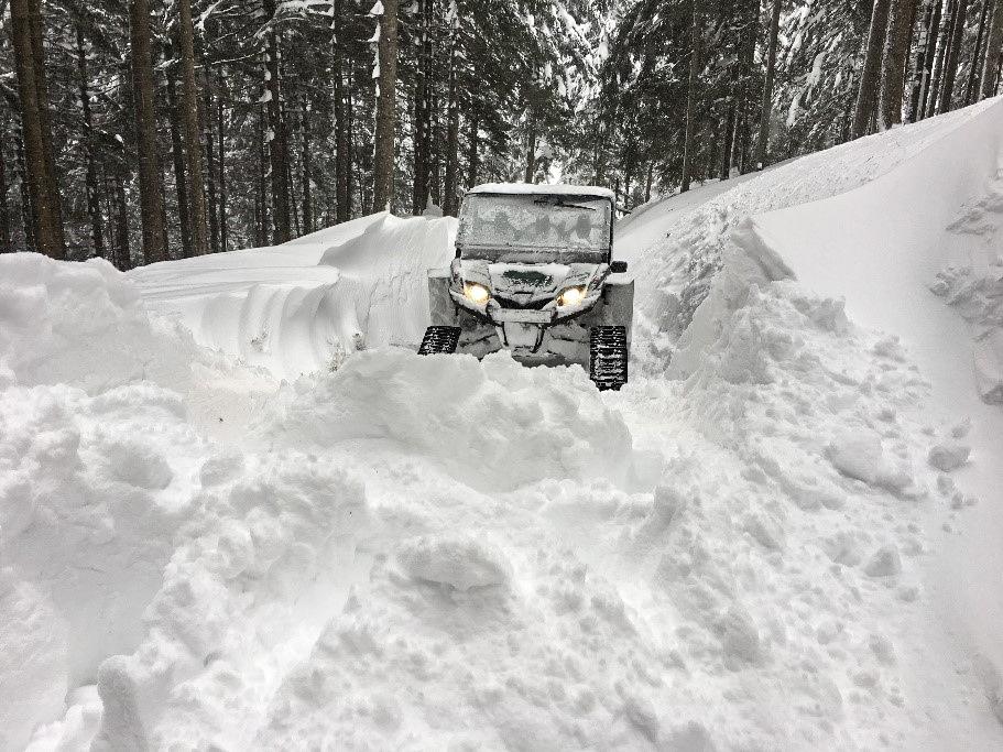 Kettenfahrzeug des Forstbetriebs Berchtesgaden