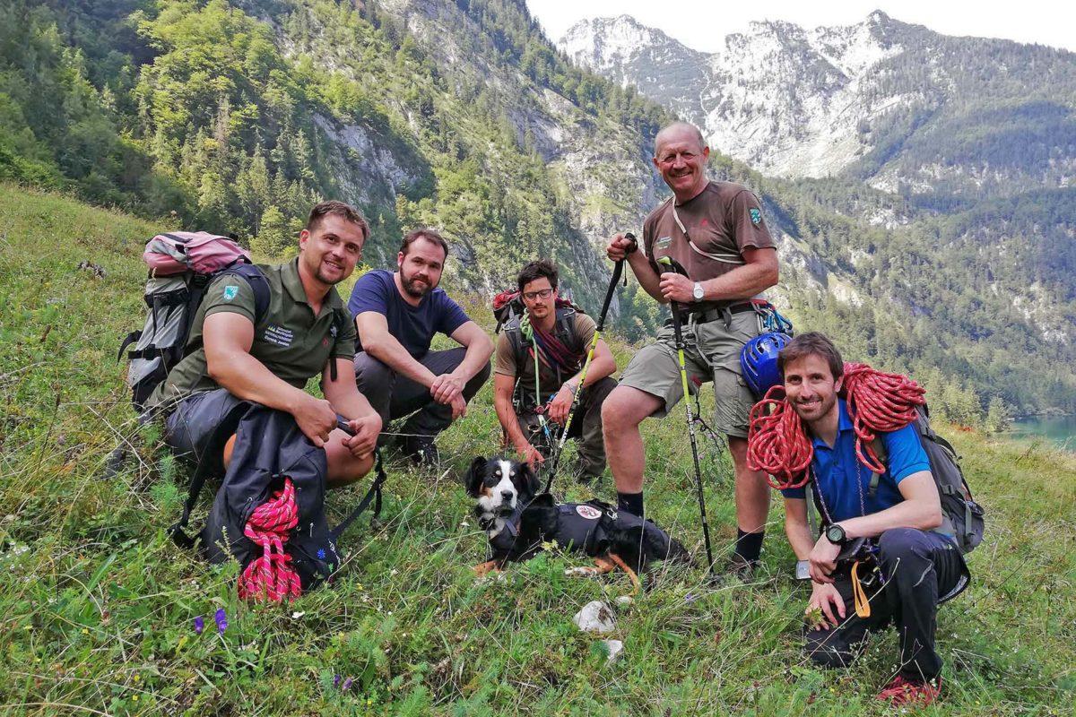 Ranger Dominik Joosten, Revierleiter Tilman Piepenbrink, Mitarbeiter Wolter von Plettenberg, Ranger Fritz Eder und Ranger-Leiter Jochen
