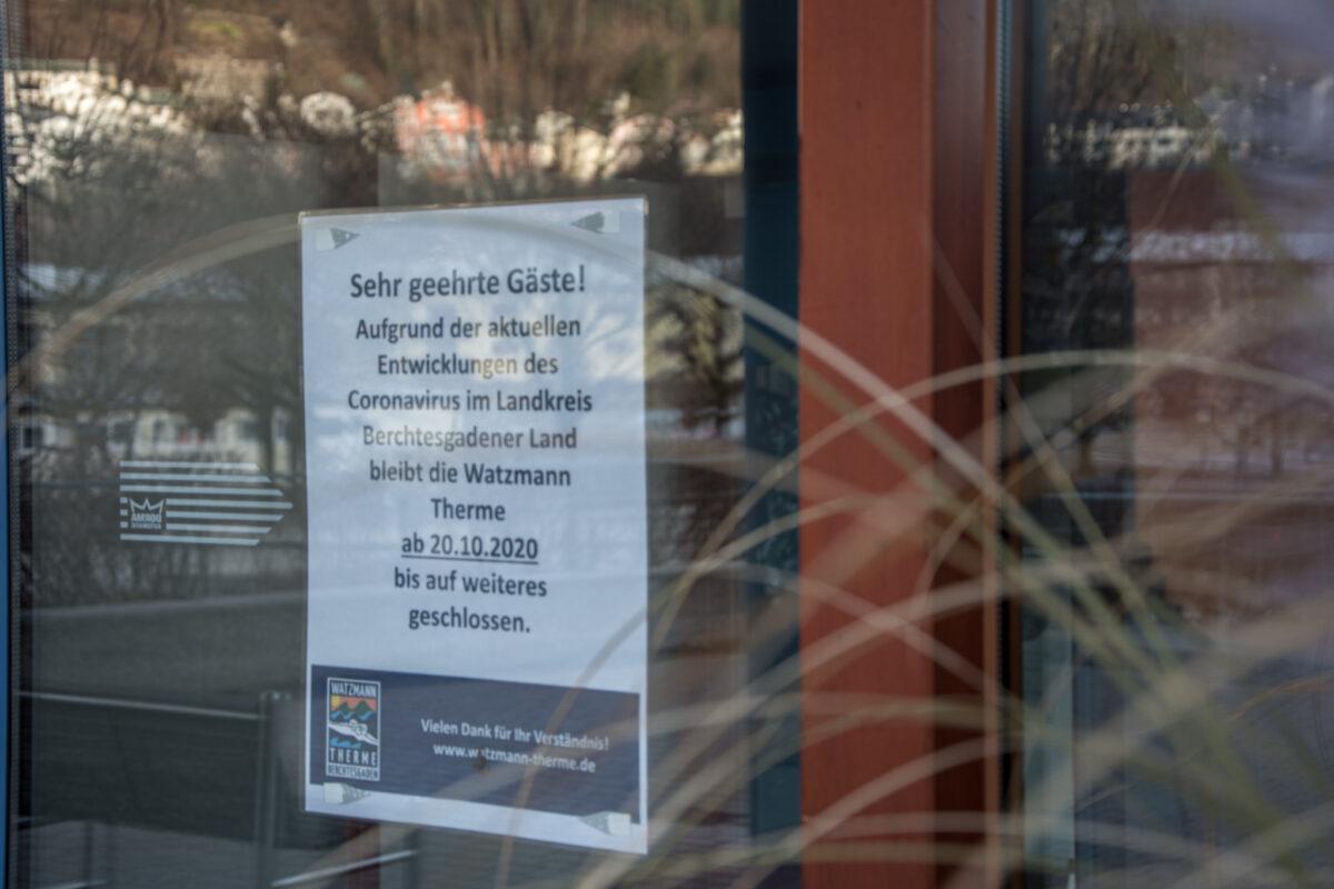 Seit 20. Oktober geschlossen: Die Watzmann Therme Berchtesgaden
